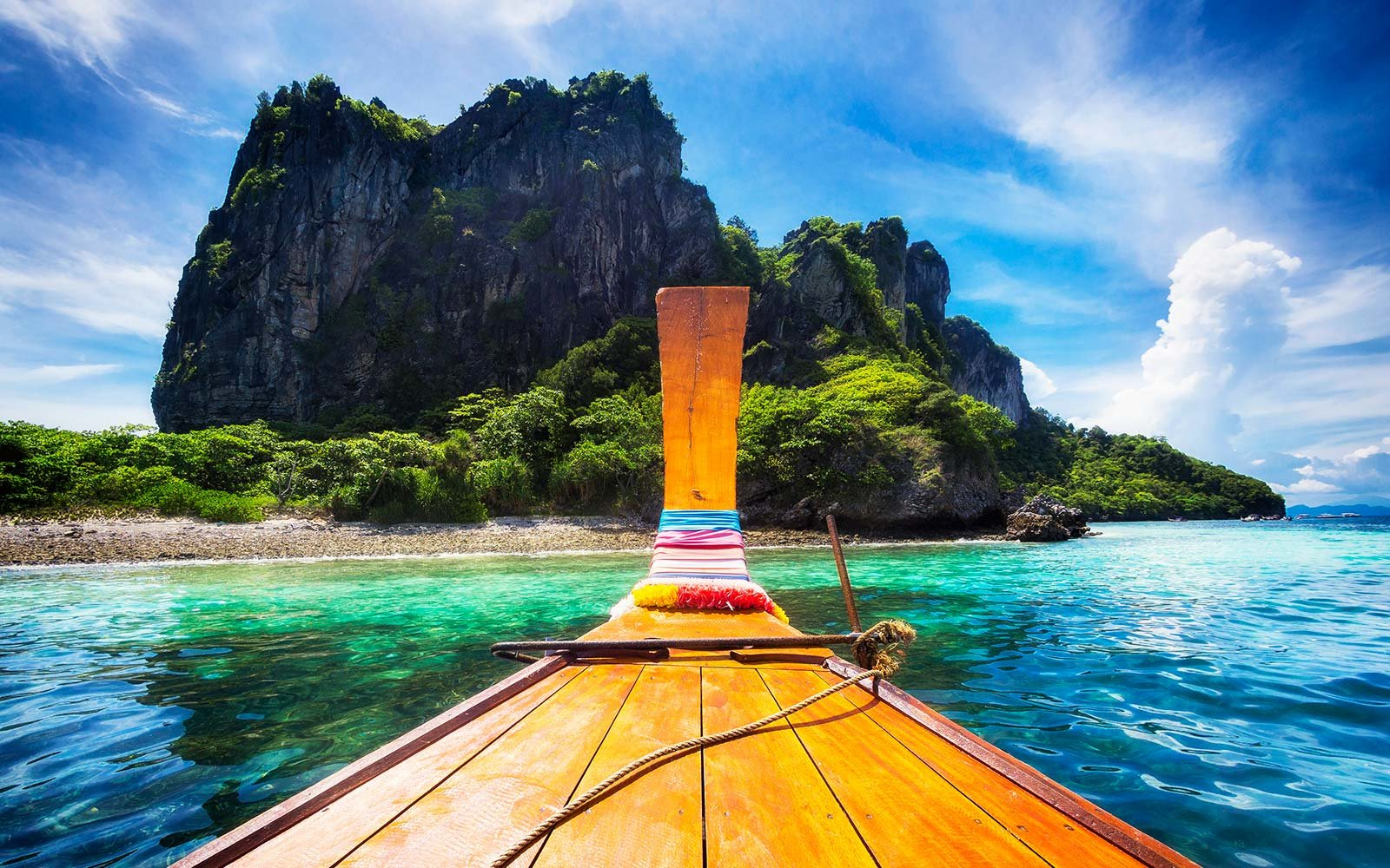 Long Tail Boat In Maya Bay, Koh Phi Phi, Thailand