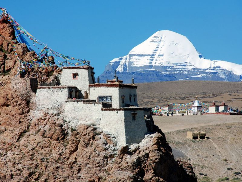 34 Old Chiu Gompa Perched On A Hill With Mount Kailash Behind